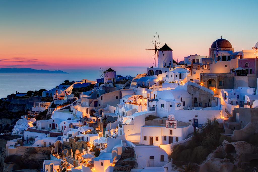 Santorini naplemente Oiában