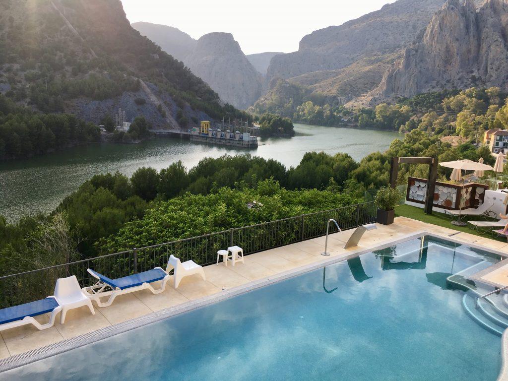 Andalúzia élménybeszámoló - El Chorro, kilátás a teraszunkról