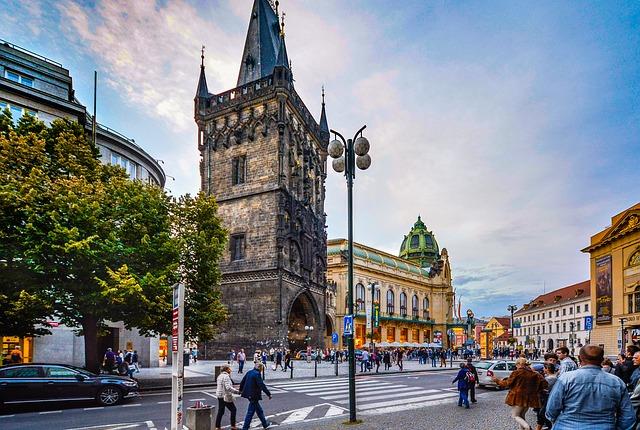 Prága látnivalói - a Lőportorony oldalról
