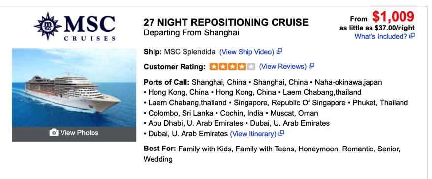 Hajóutak árai - cruisedirect