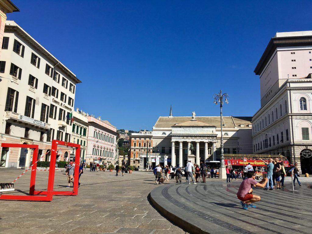 A Piazza del Ferrari Genovában